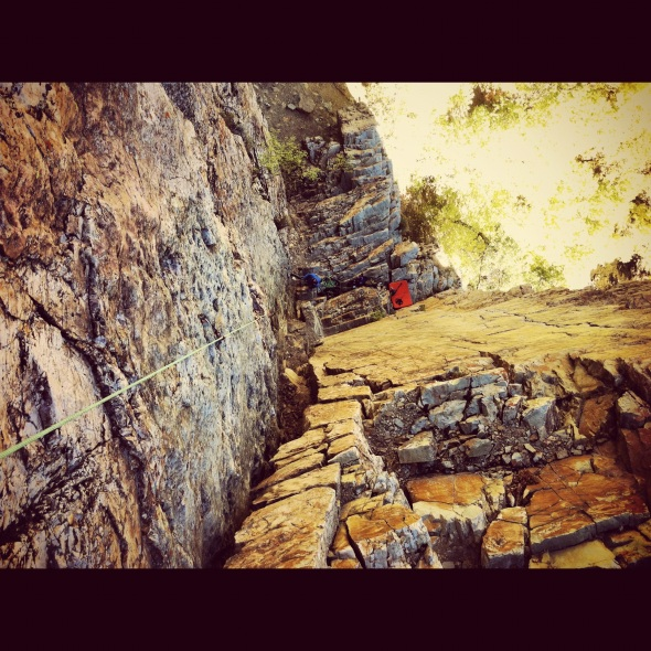 A look down at part of the 10c Goodrow's Wall - my trad project for the fall/winter
